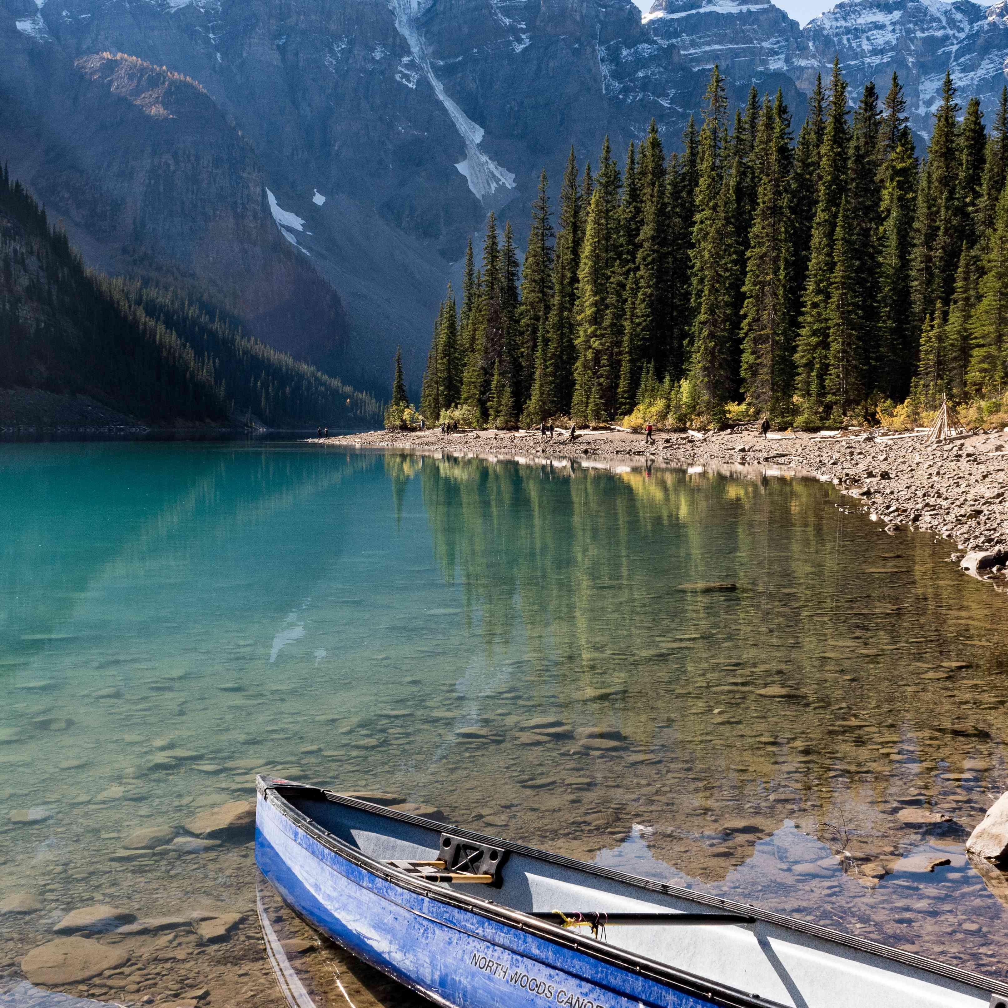 A canoe on Lake Louise