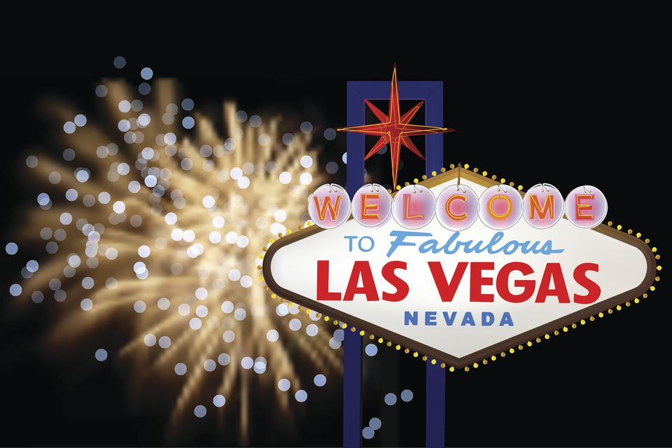 Fireworks light up the iconic Las Vegas sign.