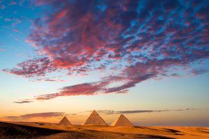 Sunset over the Giza Pyramids, Cairo