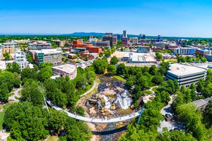 Aerial drone shot of Downtown Greenville South Carolina