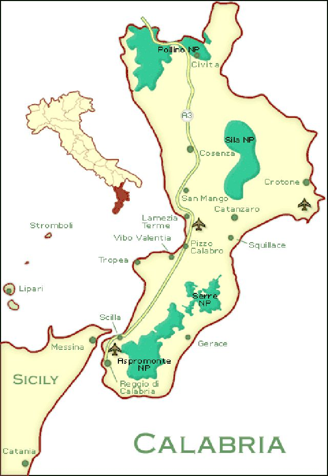 Map Of Italy With Towns.Cities Map And Guide To Calabria Southern Italy