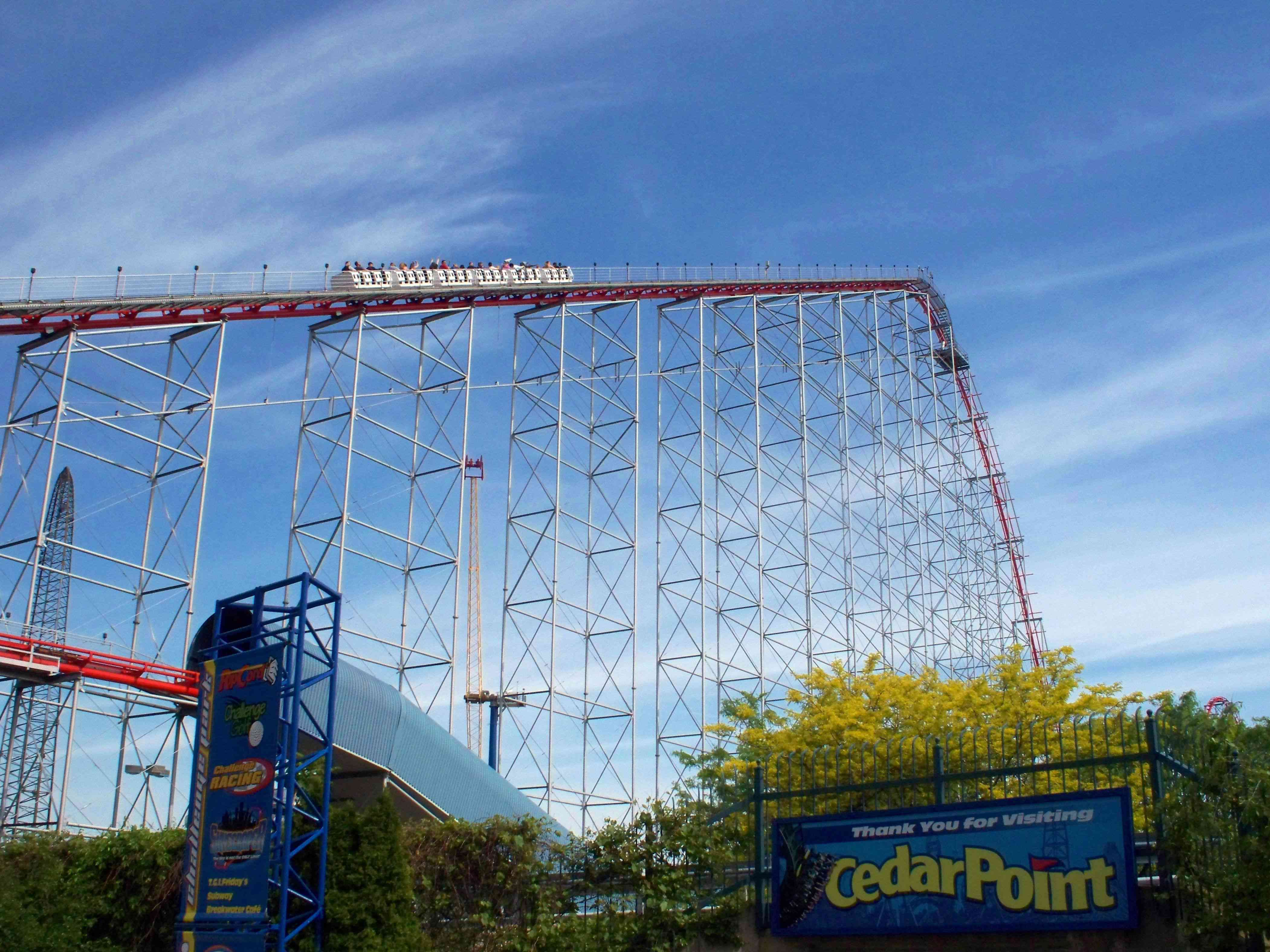 First hill and drop of Magnum XL-200 coaster