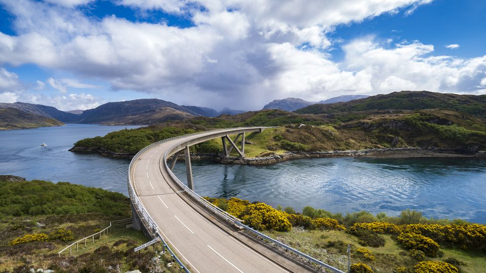 Kylesku Bridge on the North Coast 500 route in Sutherland, Scotland, UK