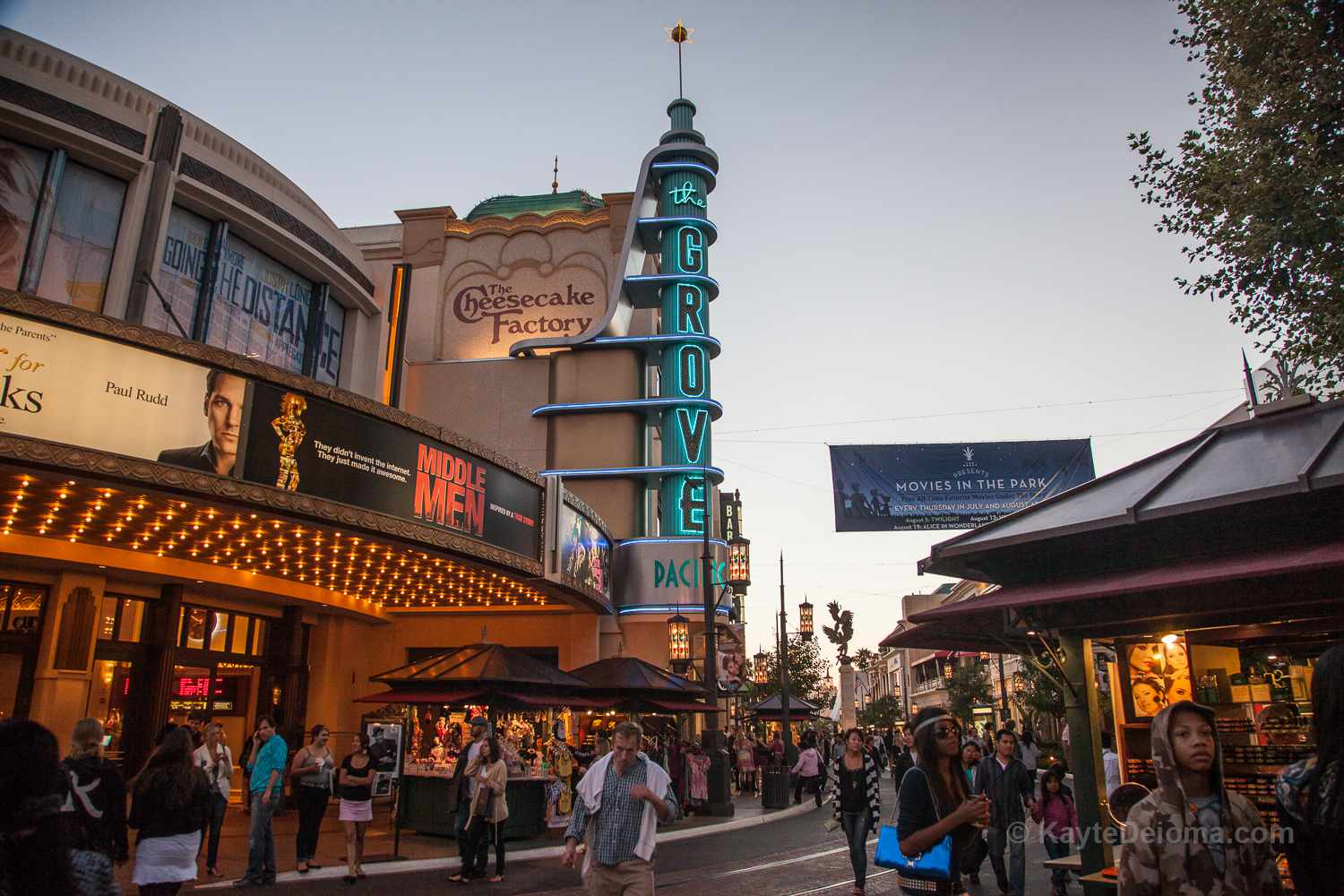 The Grove lit up at twilight