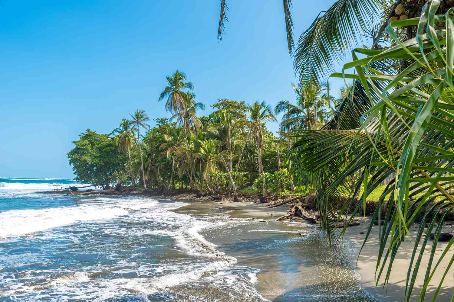 Waves hitting the sand at Playa Negra in Costa Rica