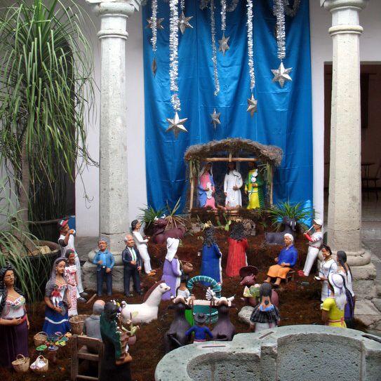 Large ceramic nativity scene