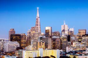 Downtown skyline at dusk, San Francisco, USA