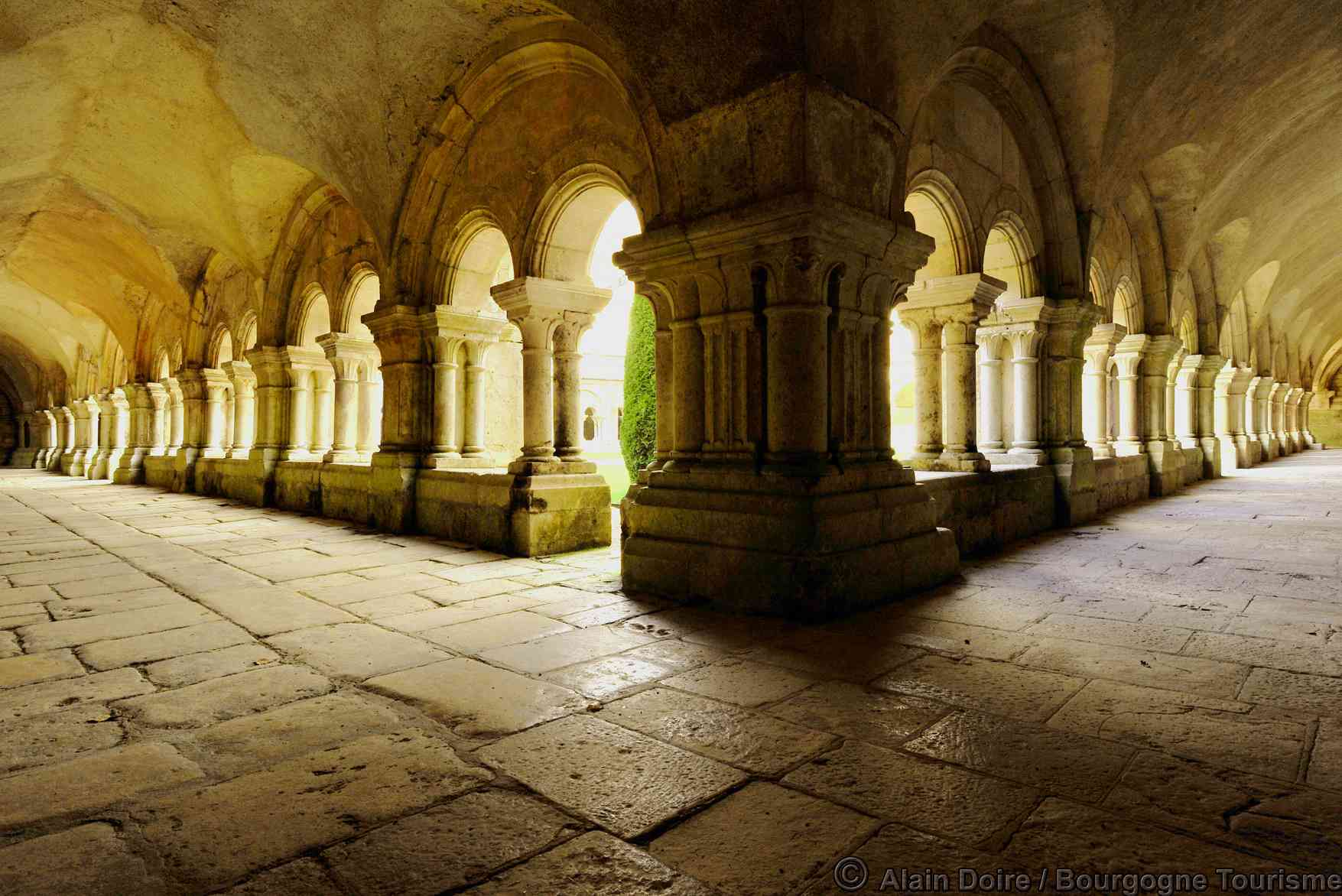 Cloisters of Fontenay Abbey in Burgundy
