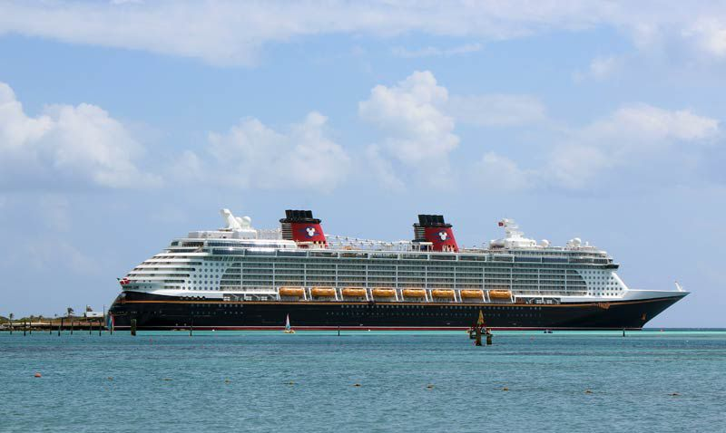 The elegant Disney Fantasy, docked at Disney's private island, Castaway Cay.
