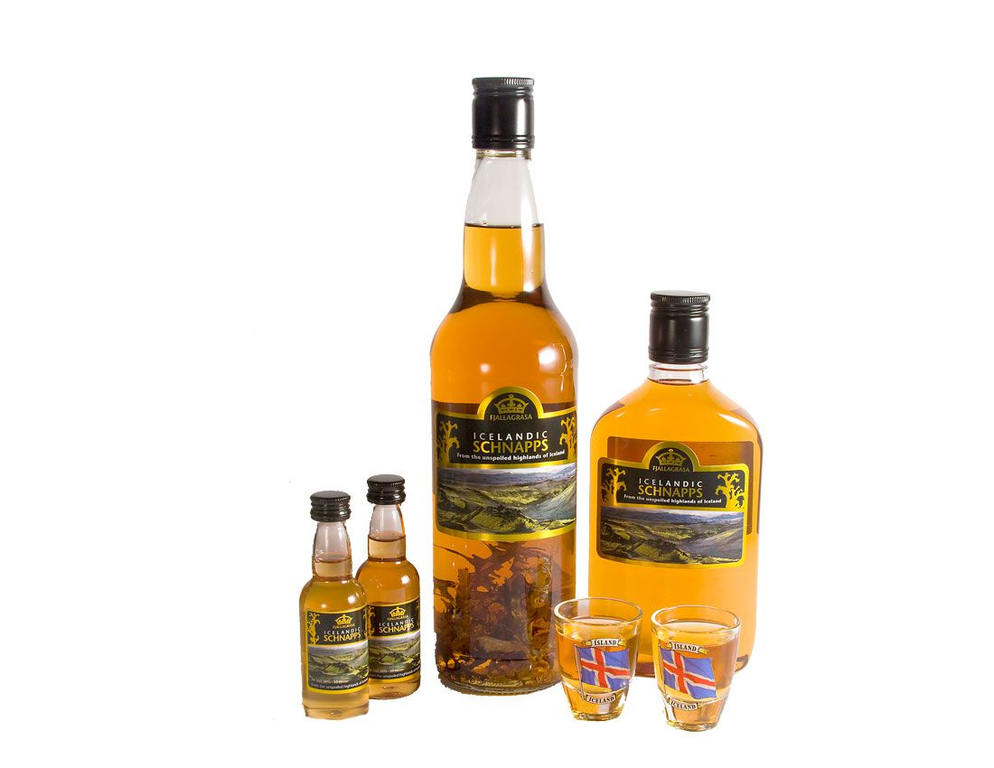 Four different sized bottles of Fjallagrasa Iceland Schnapps