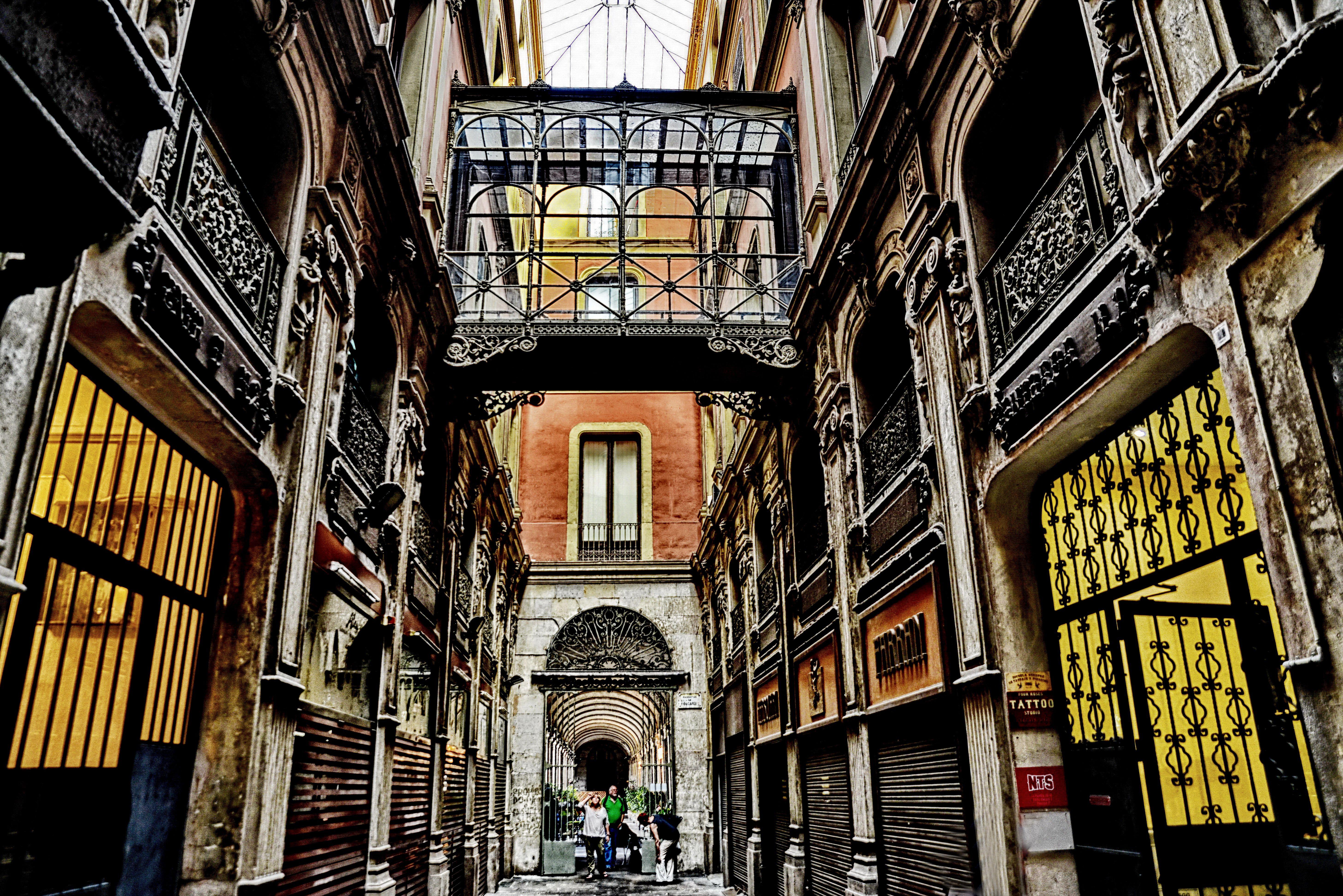 Inner corridor between two buildings in Barcelona Spain