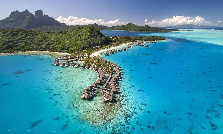 Aerial shot of the Conrad Bora Bora Nui