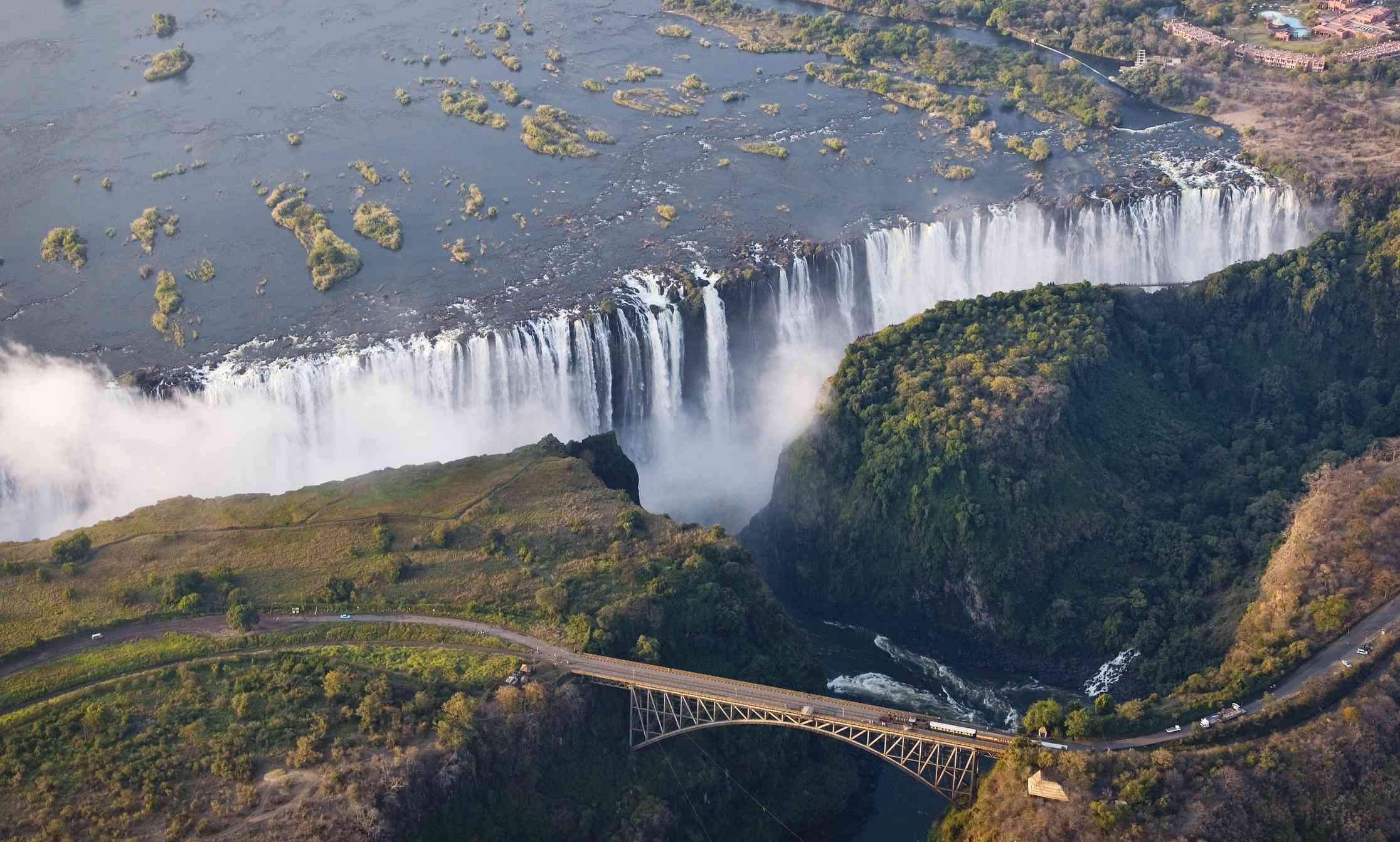 Aerial view of Victoria Falls on the border with Zimbabwe and Zambia