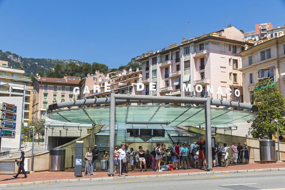 Crowd of people exiting Monaco Train station, France