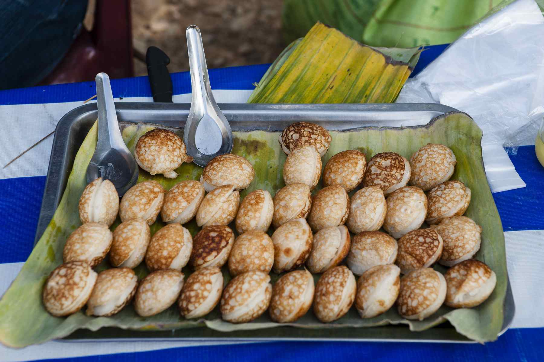 Khao nom kok street food stall, Laos