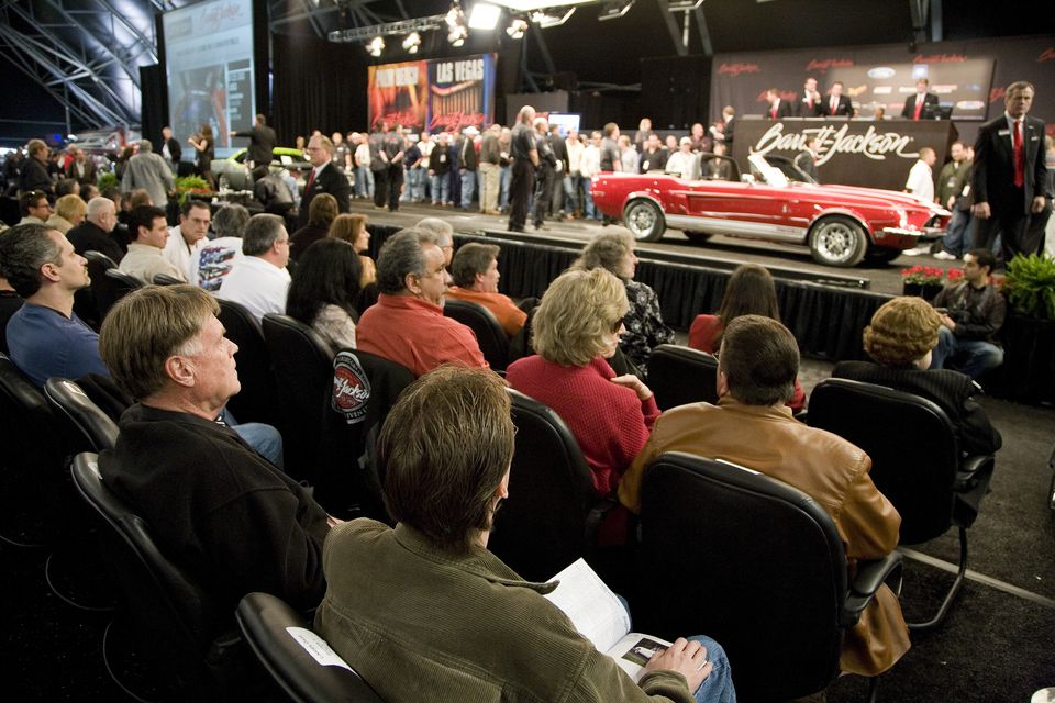 Audience watching auction at Barrett-Jackson Classic Car Auction
