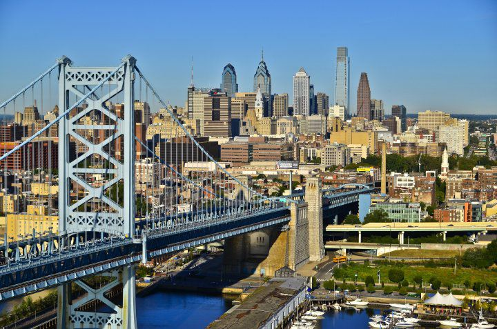 Philadelphia skyline from the Ben Franklin Bridge
