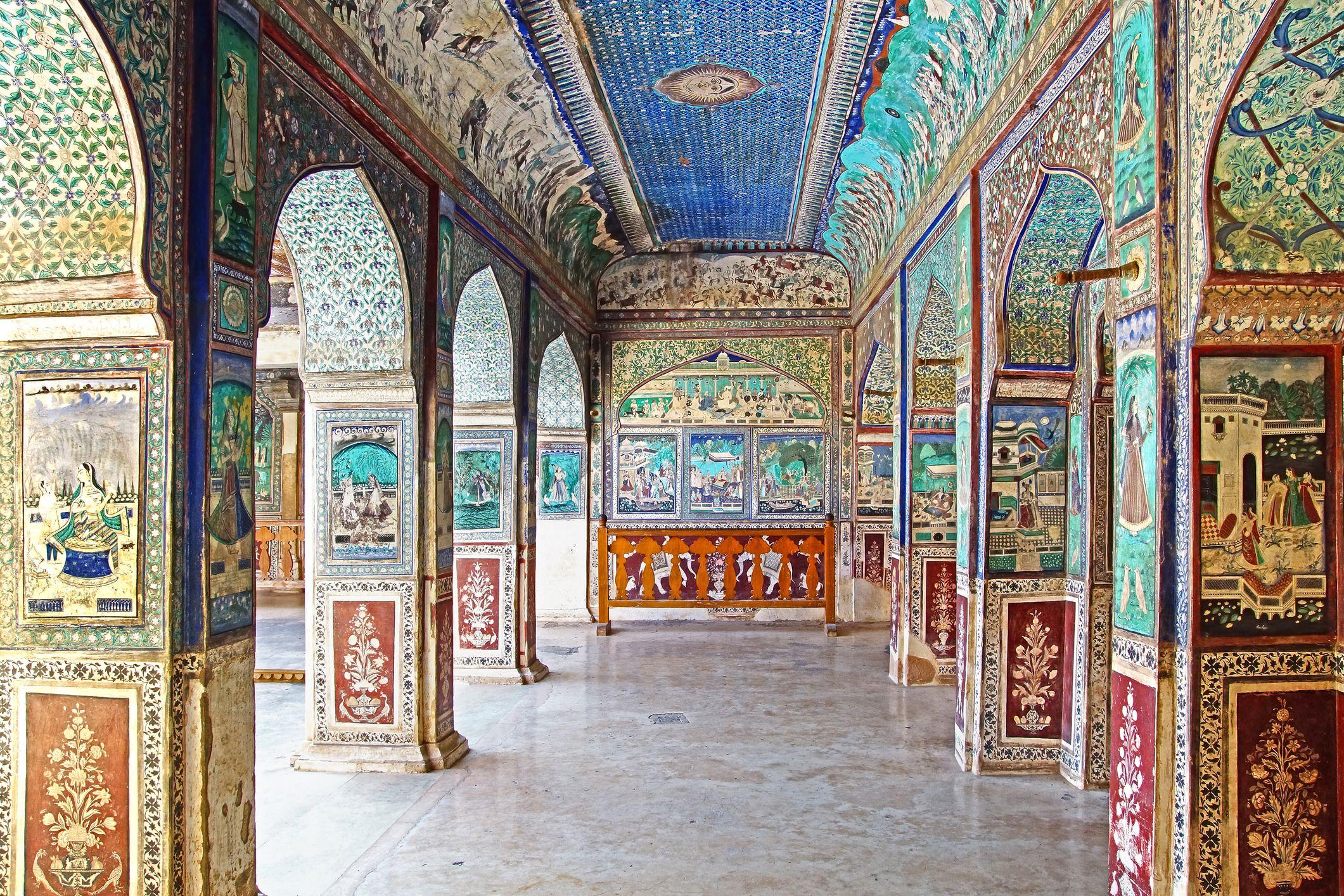 Bundi's Garh Palace. Bundi Palace is notable for its lavish traditional Rajput murals and frescoes.