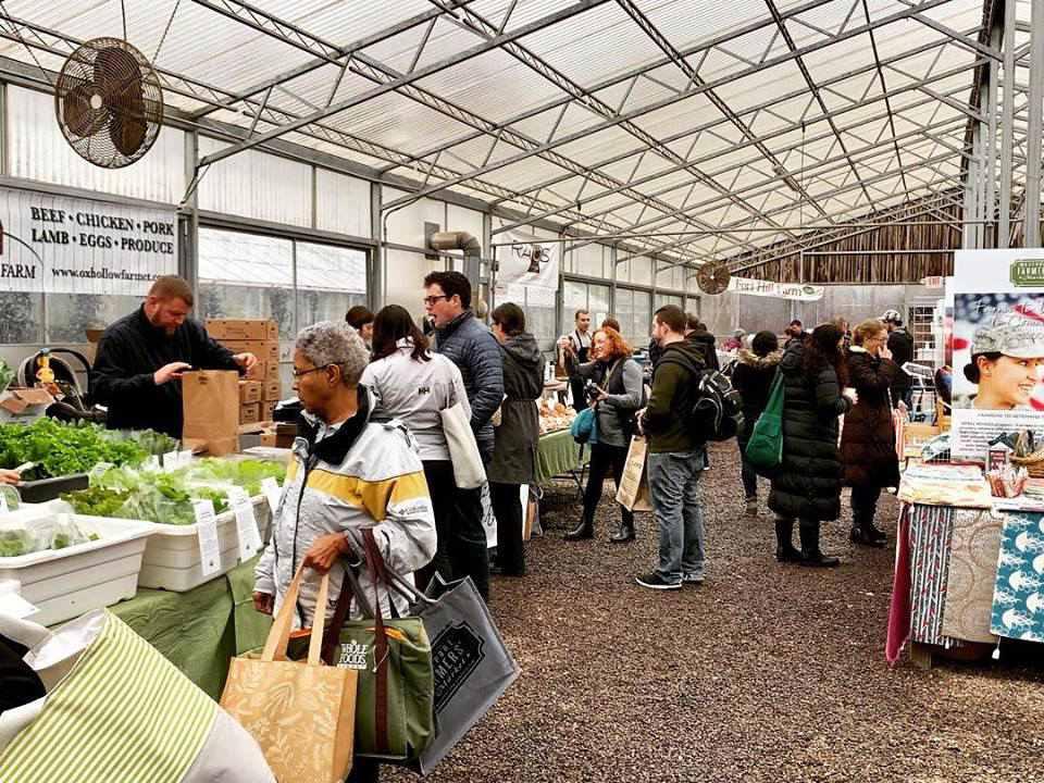 People shopping at Westport Farmers' Market
