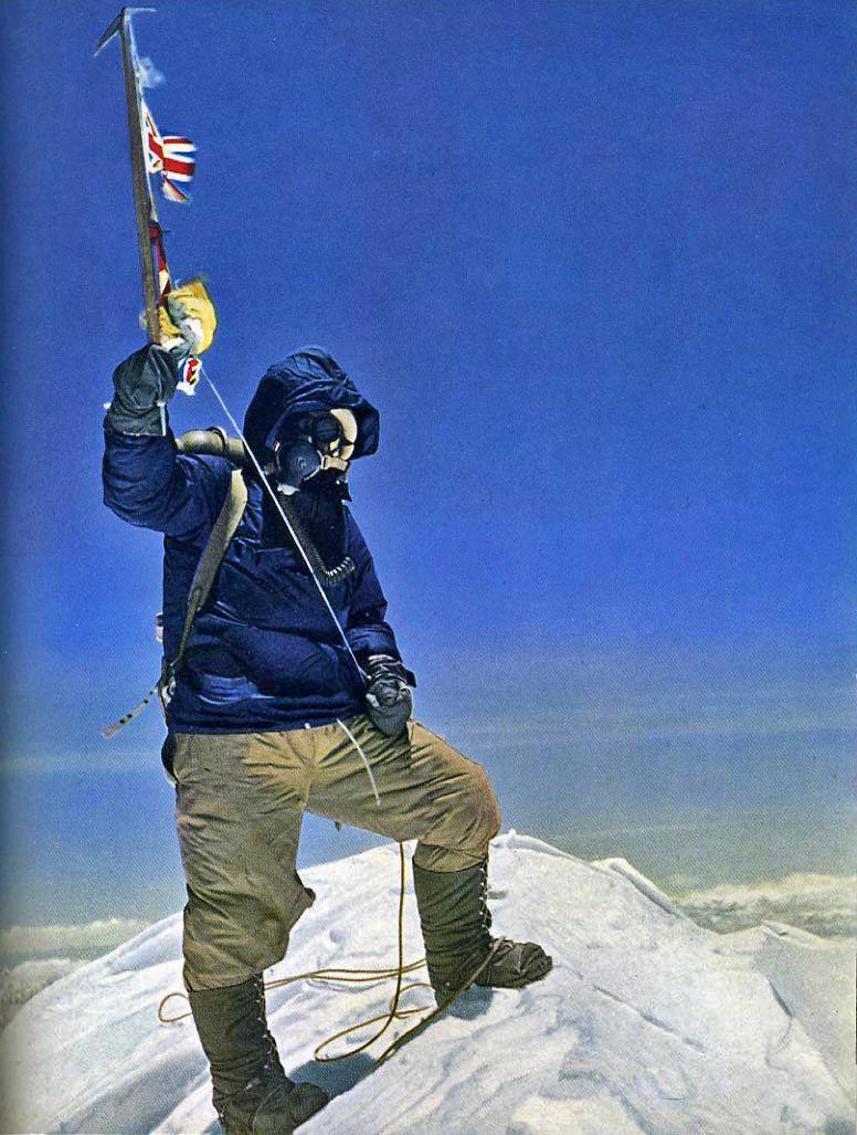 Tenzing Norgay atop a glacier