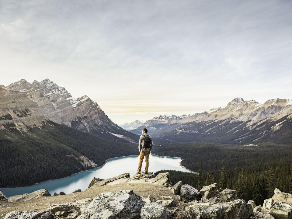 Looking at view overlooking Peyto Lake, Lake Louise, Alberta, Canada