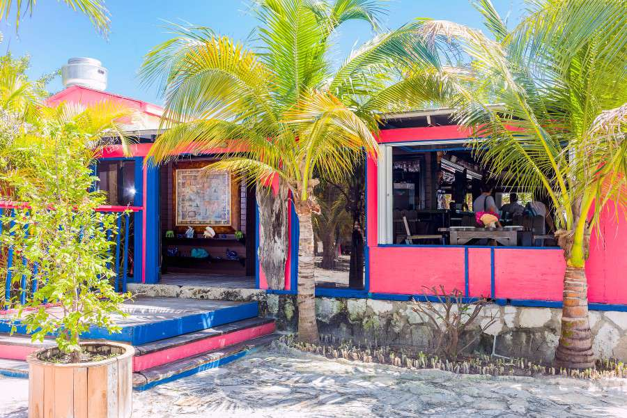 Exterior of restaurant with bright pink and blue accents. There are two palm tree partially obscuring the restaurant