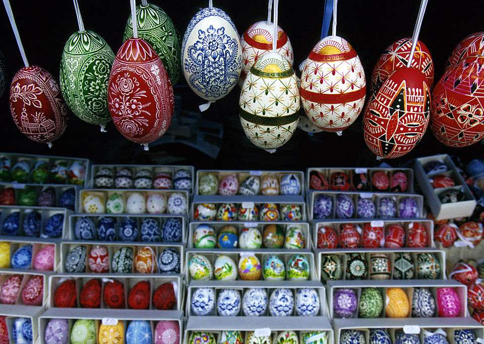 Painted Easter eggs At An Outdoor Stall In Central Prague