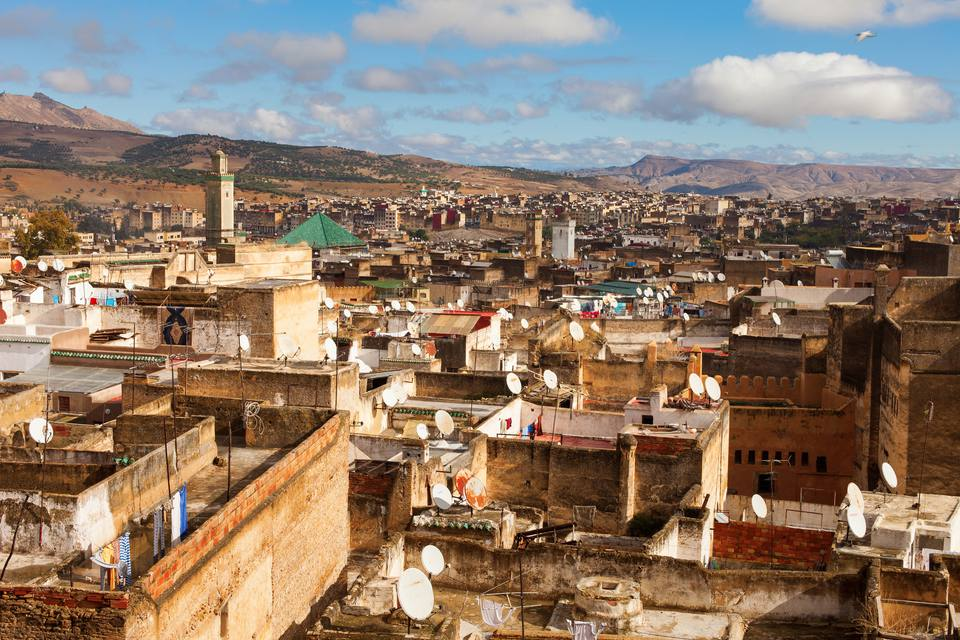 View of Medina Fes from above. Fes is a historic city listed in UNESCO