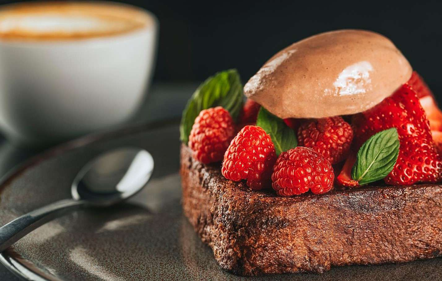 Chocolate French Toast with berries and chocolate ice cream at Boulangerie Central Guadalajara