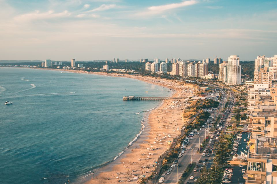 a view of the beach and city in Punta del Este in Uruguay