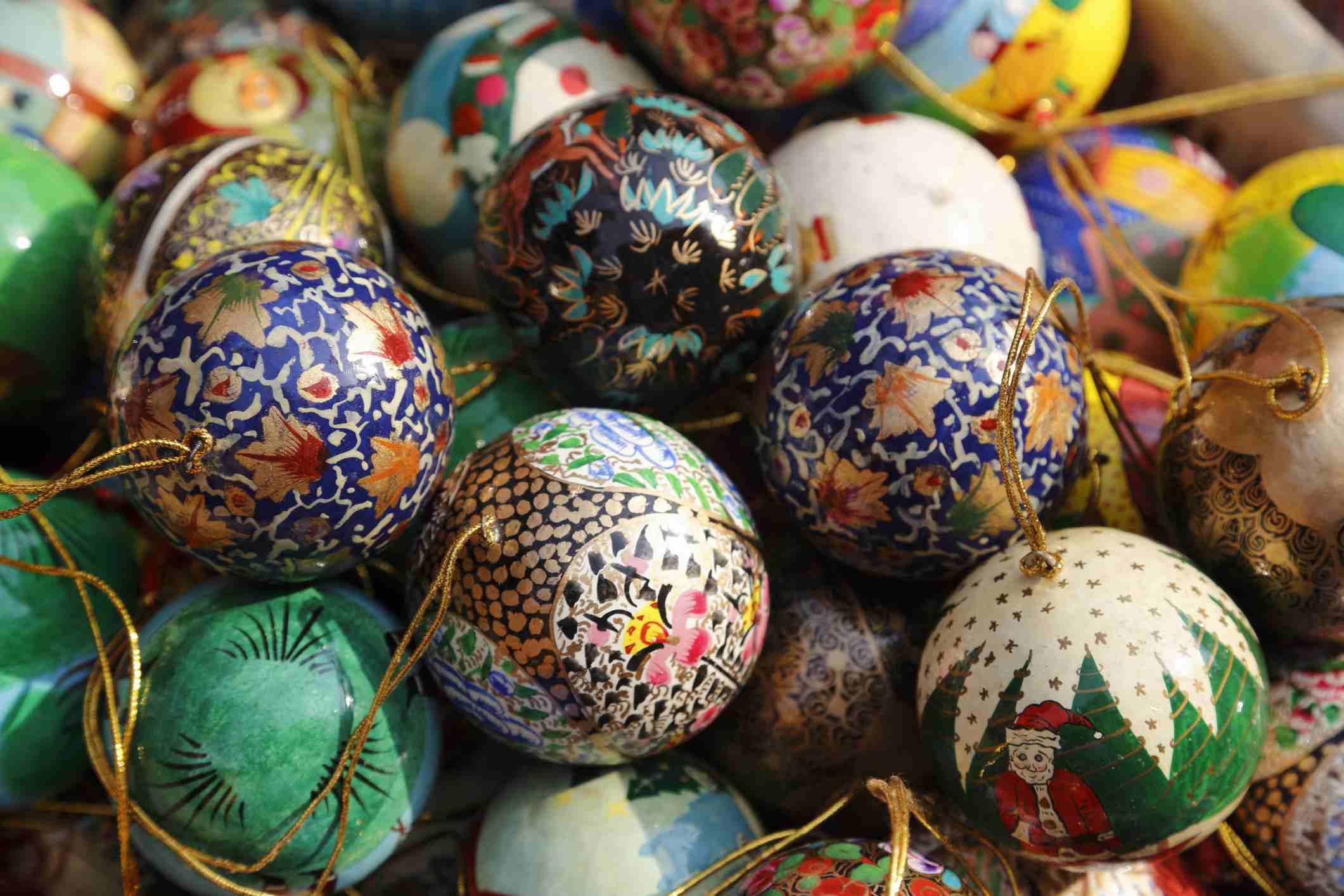 Kashmiri papier-mache Christmas baubles on sale at Dilli Haat crafts bazaar