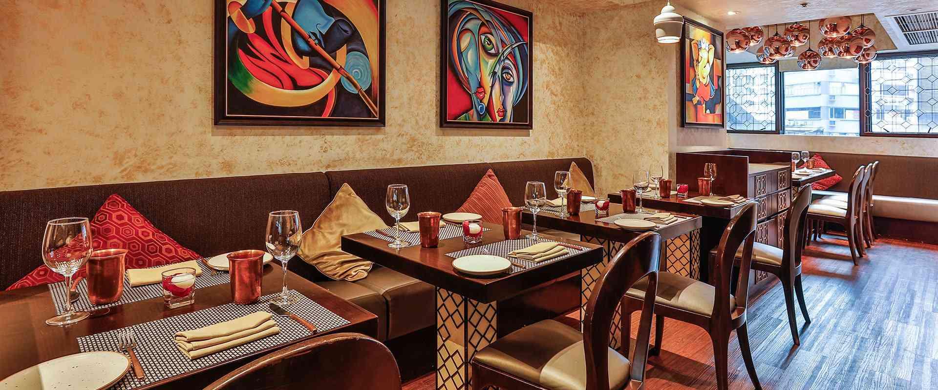 Tables inside Jashan, an Indian food buffet in Hong Kong