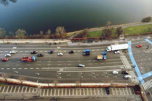 Tilt shift image of vehicles on highway in Denmark
