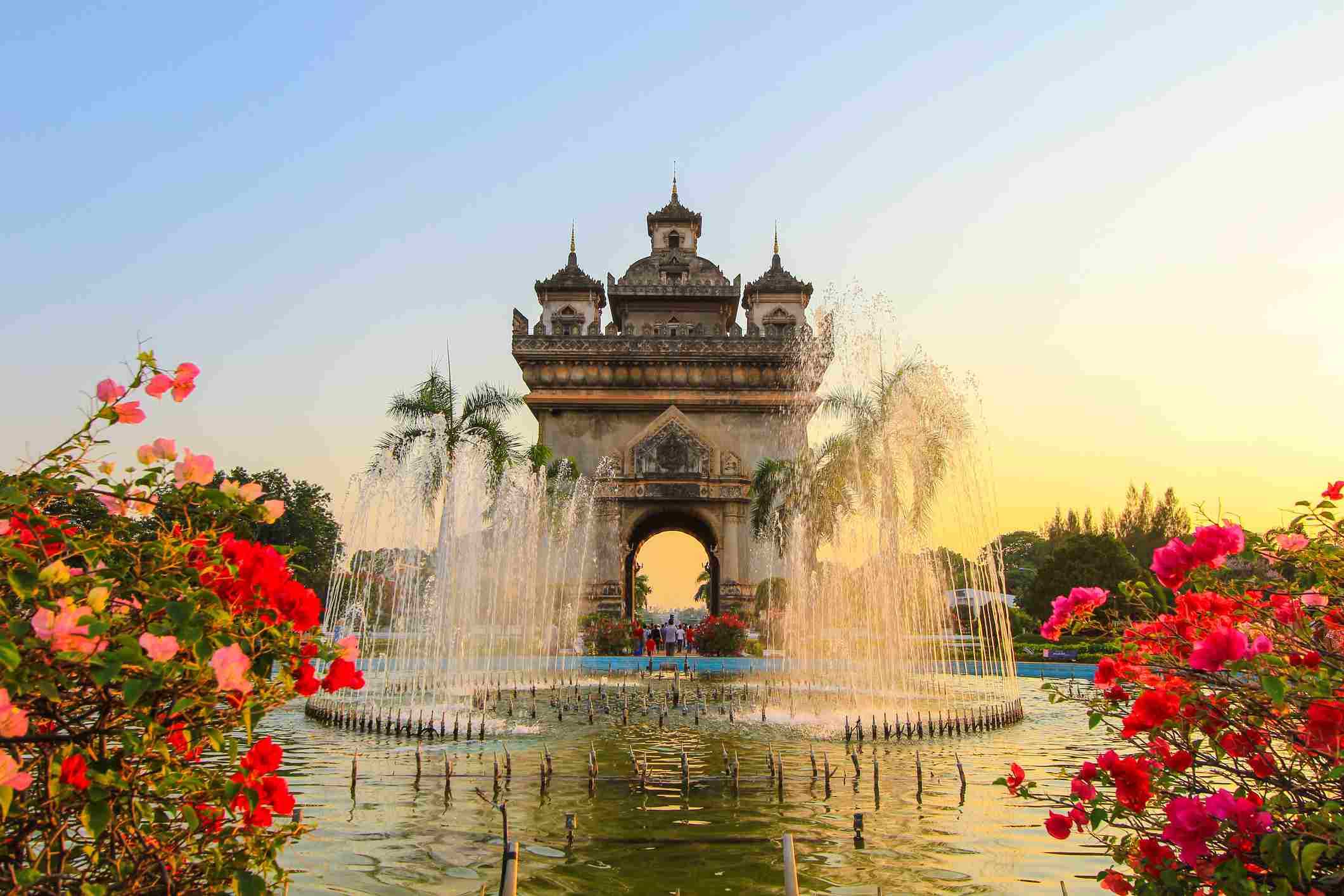 Patuxai (Victory Gate or Gate of Triumph) in the evening