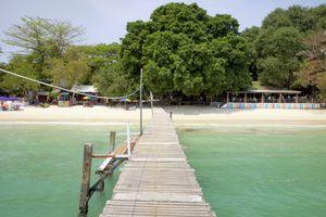 An empty pier on the beach