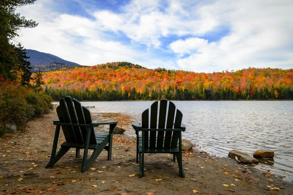 Adirondack Chairs and Fall Foliage in the Adirondacks of New York