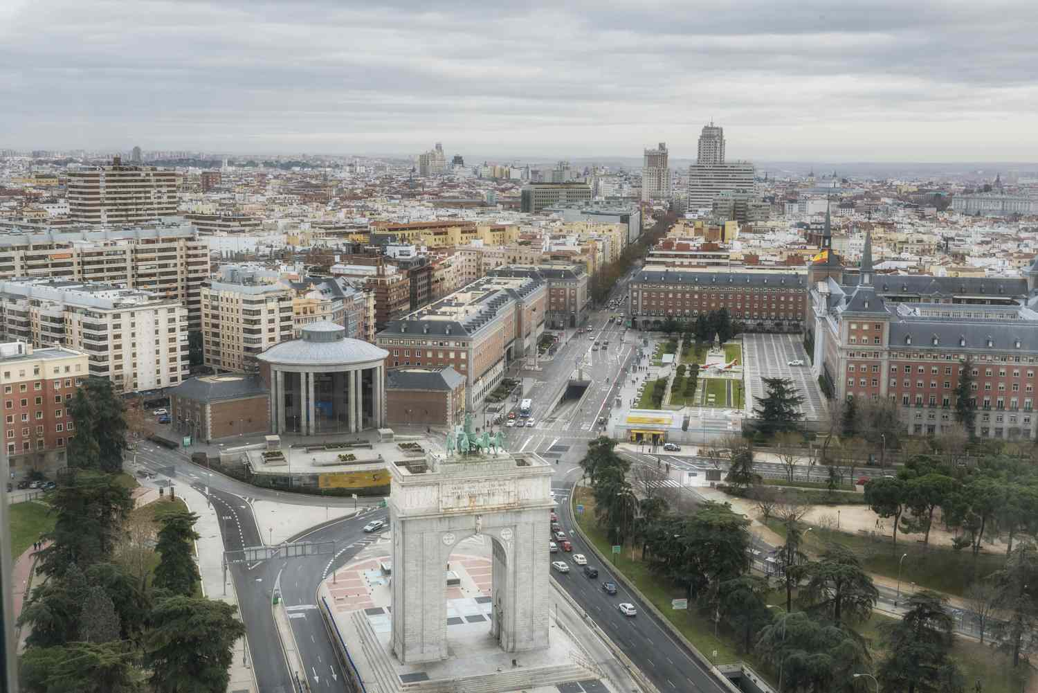 Aerial view of the Moncloa neighborhood in Madrid, Spain