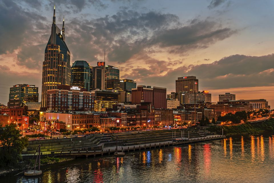 Nashville skyline at evening time