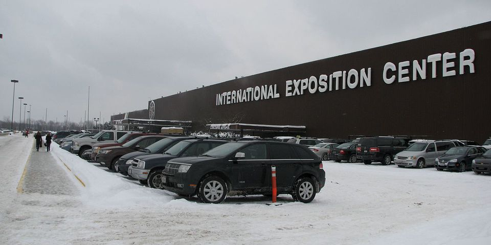 The International Exposition Center in Cleveland during the winter.