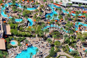 aerial view of a collection of pools and a lazy river at the MGM Grand in Las Vegas
