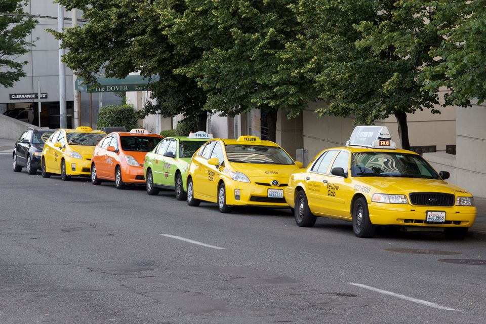 Line of taxi cabs outside of the Renaissance Hotel in downtown Seattle.