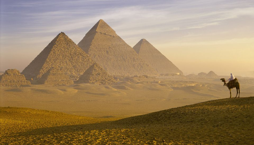 Panoramic view of the Pyramids of Giza near Cairo, Egypt