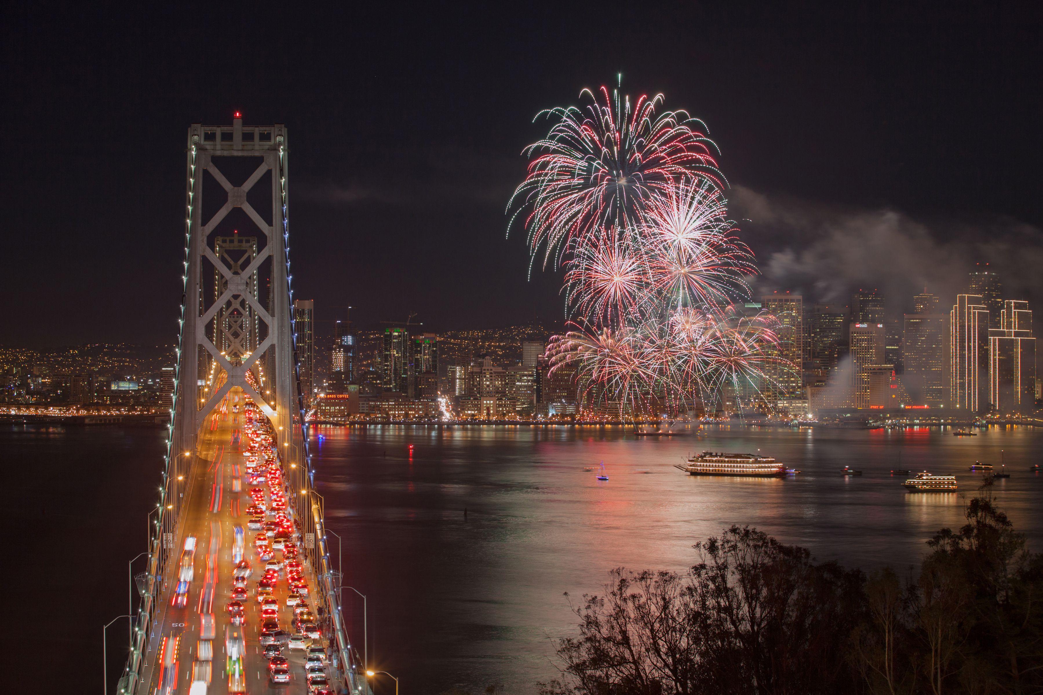 Fireworks at San Francisco Bay Bridge