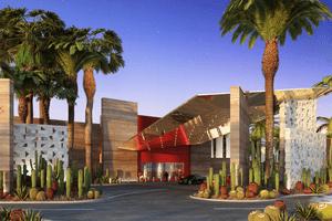 Exterior shot of the entrance to Virgin Hotels Las Vegas