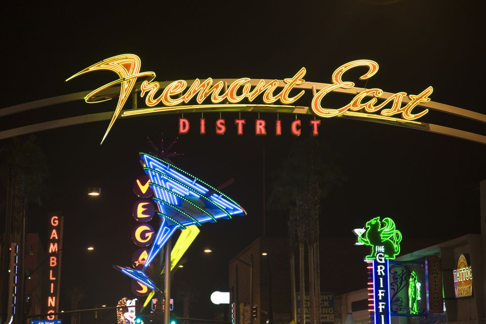 Neon signs, Fremont East District, Las Vegas, Nevada, USA