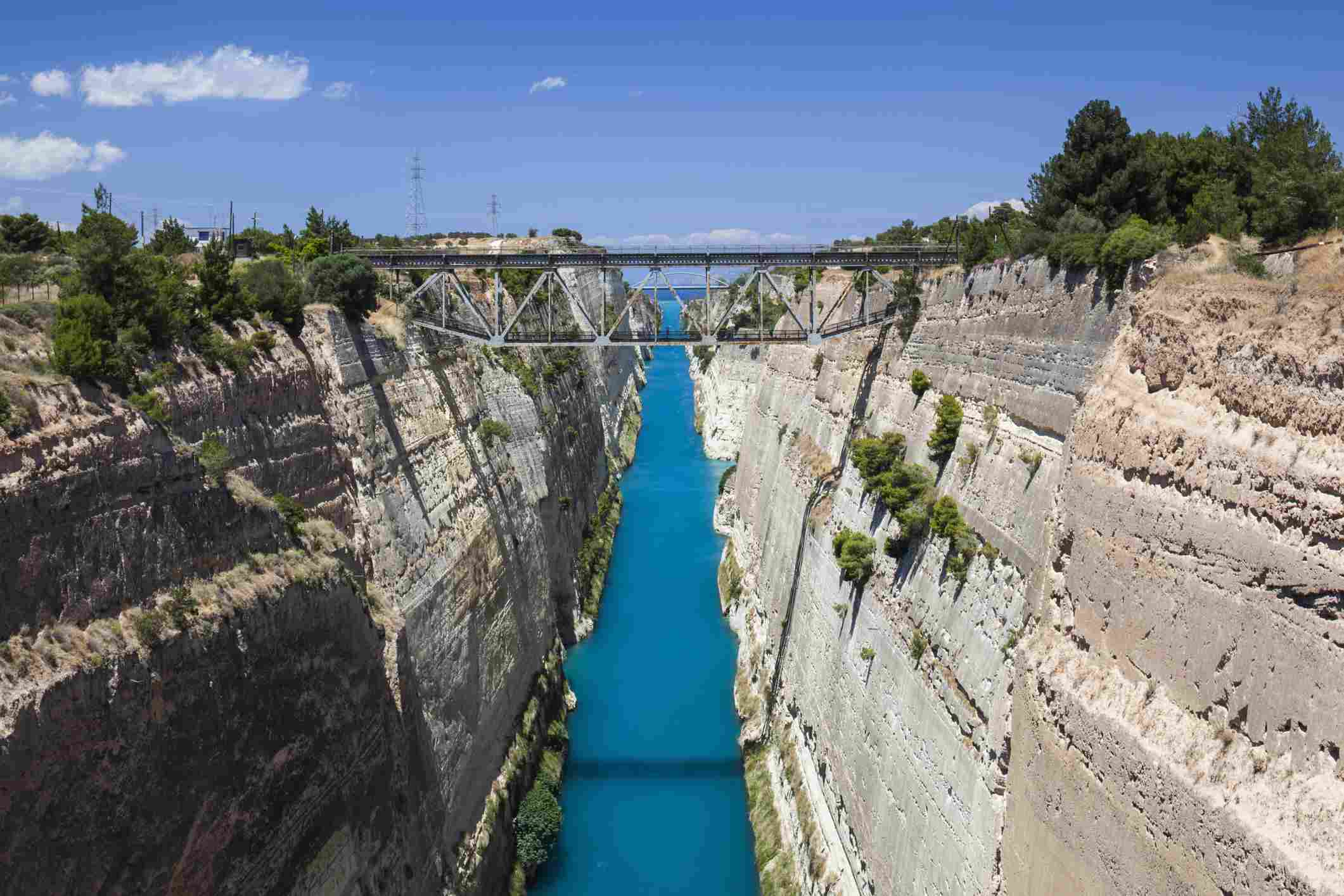 Elevated view of the Corinth Canal.