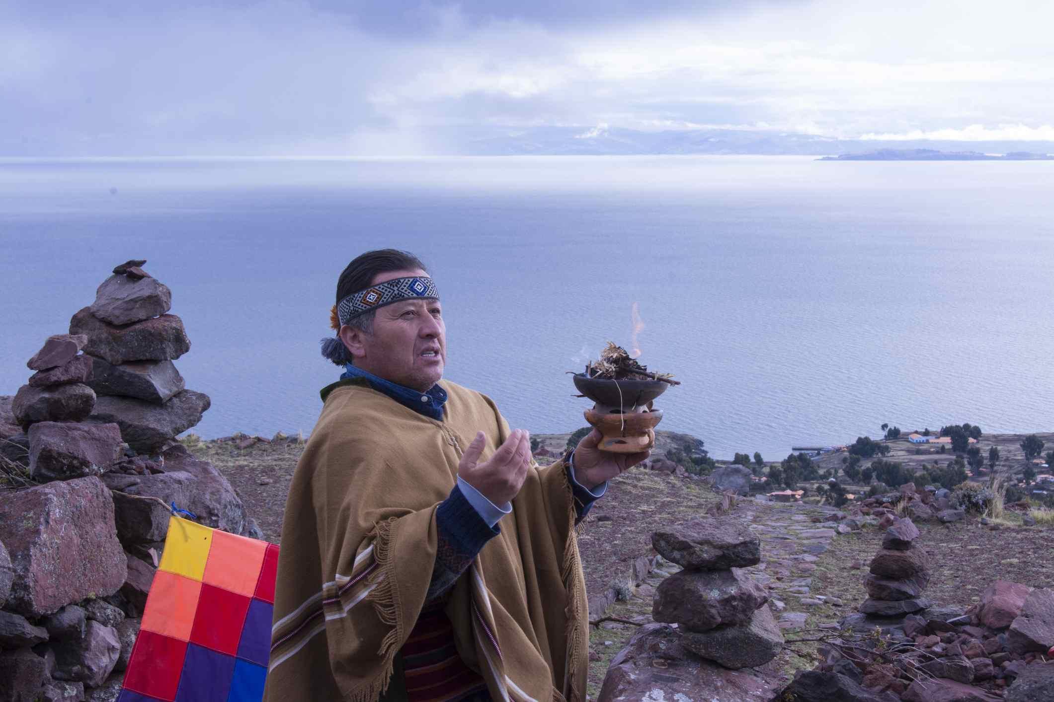 Shamanic ceremony, Island of Amantani, Lake Titicaca, Peru