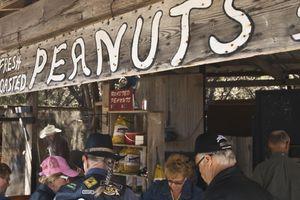 Roasted peanut vendor and customers at Wimberley Market