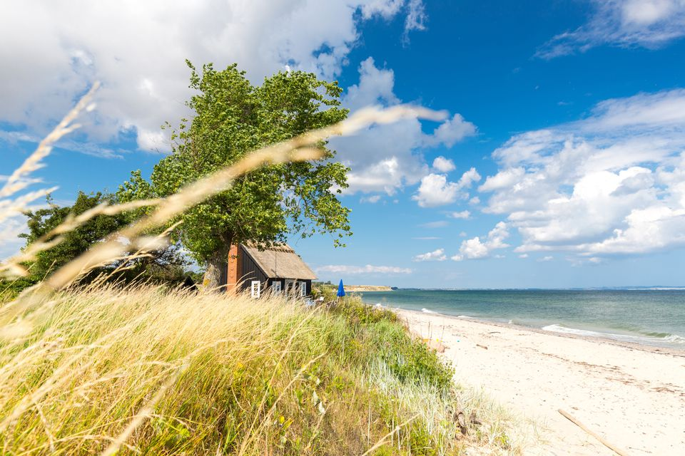 House at Baltic Sea beach, Rytsebaek, Mon island, Denmark
