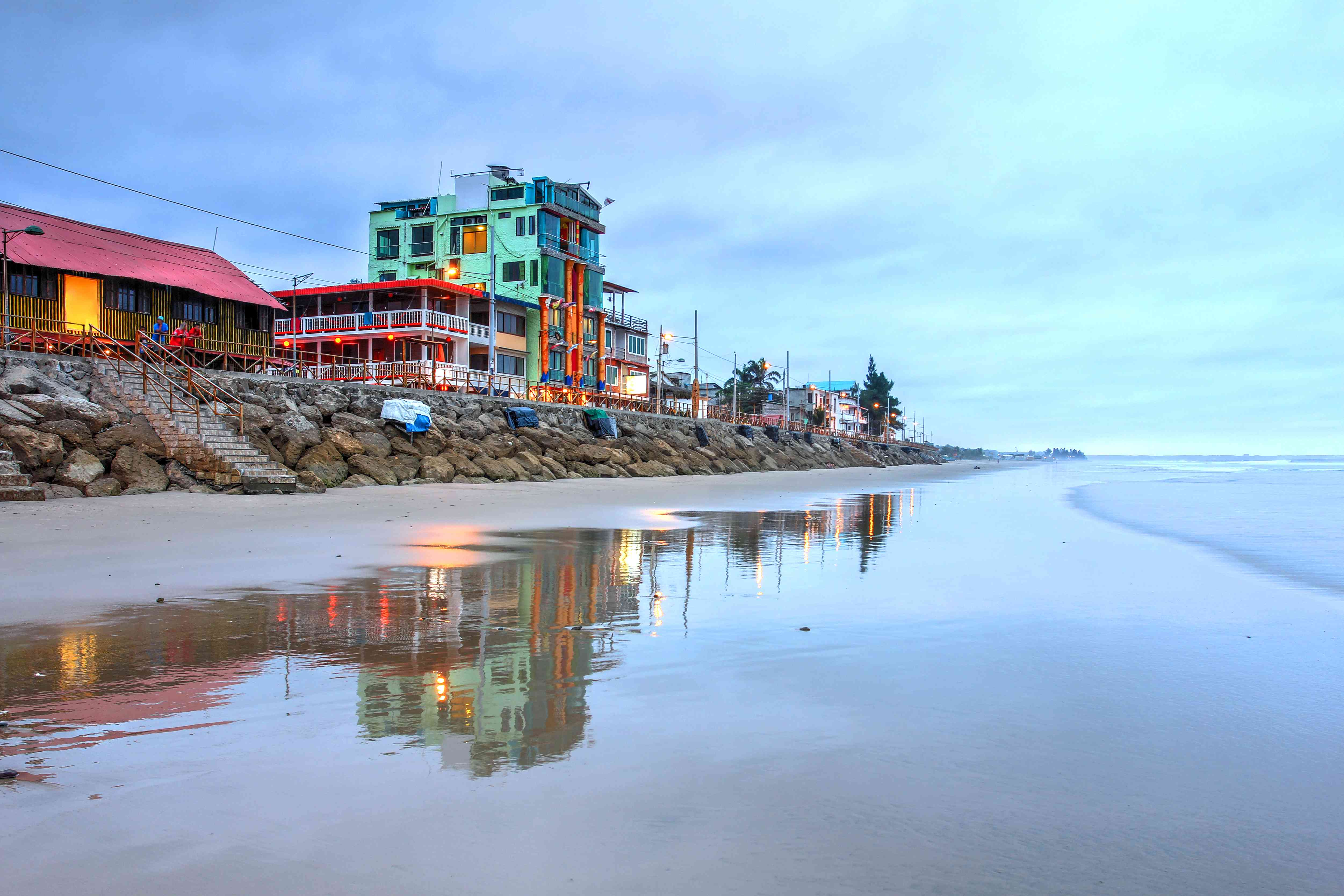 Beach front evening landscape in the small resort town of Montanita, Ecuador